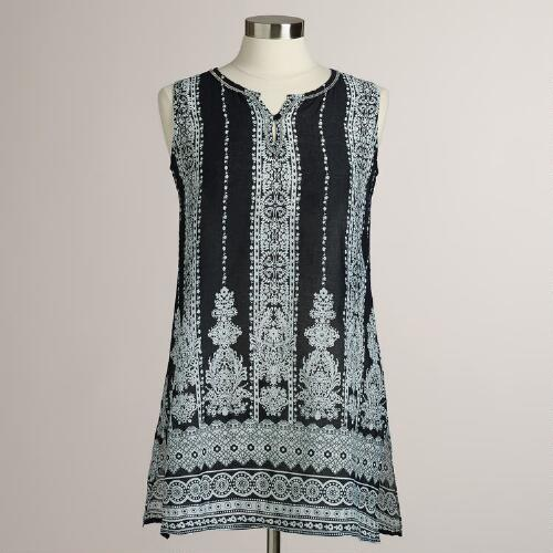 Black and White Sleeveless Kanala Top