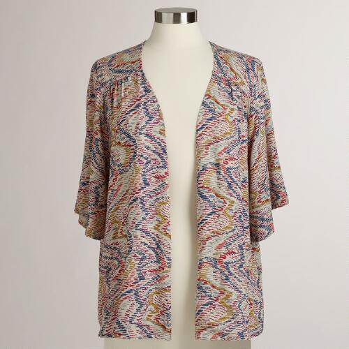 Wavy Print Short Sleeve Zoe Jacket Shirt