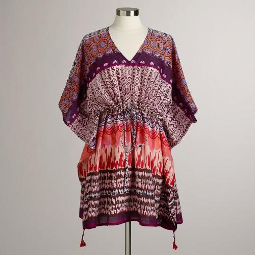 Red, Brown and Purple Jaiden Kaftan Shirt