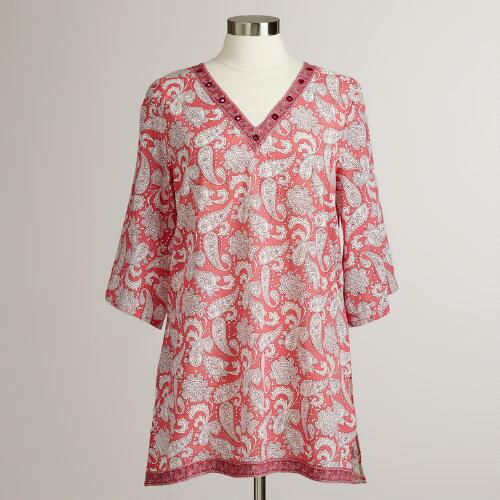 Coral Paisley Intiaz Tunic