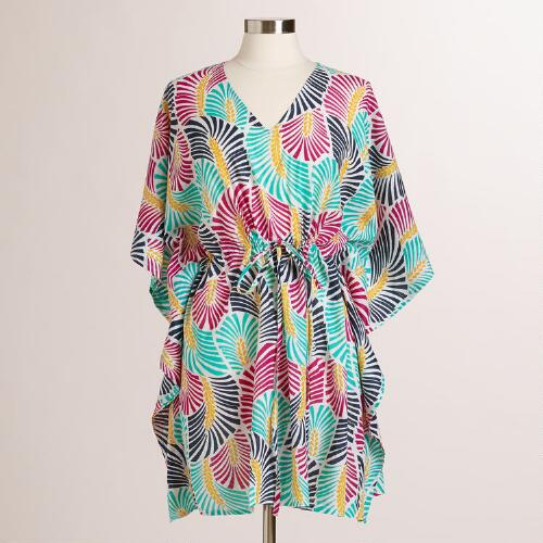 Multicolored Leaf Isa Kaftan Shirt