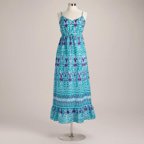 Teal and Coral Ikat Taya Maxi Dress