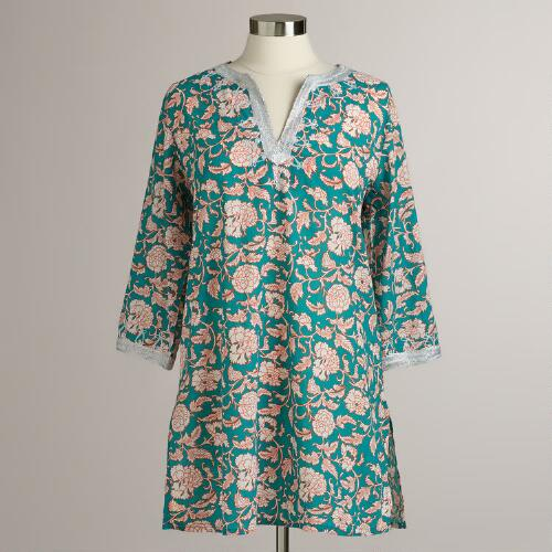Teal Embroidered Leela Beach Tunic