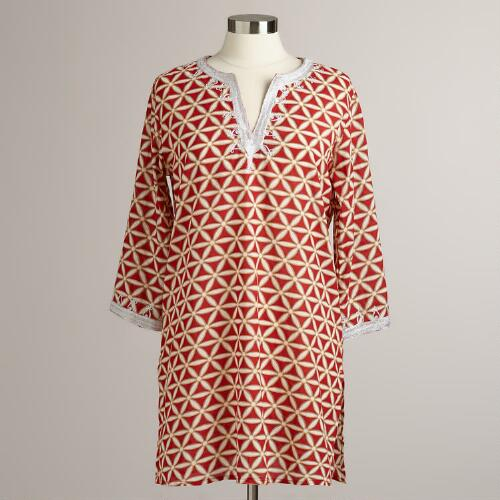 Red Embroidered Leela Beach Tunic