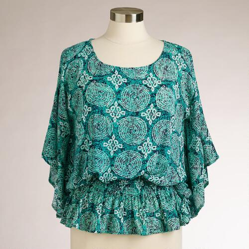 Turquoise Swirl Blouse with Butterfly Sleeves