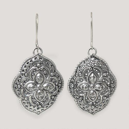 Novica Tribal Shields Dangle Earrings