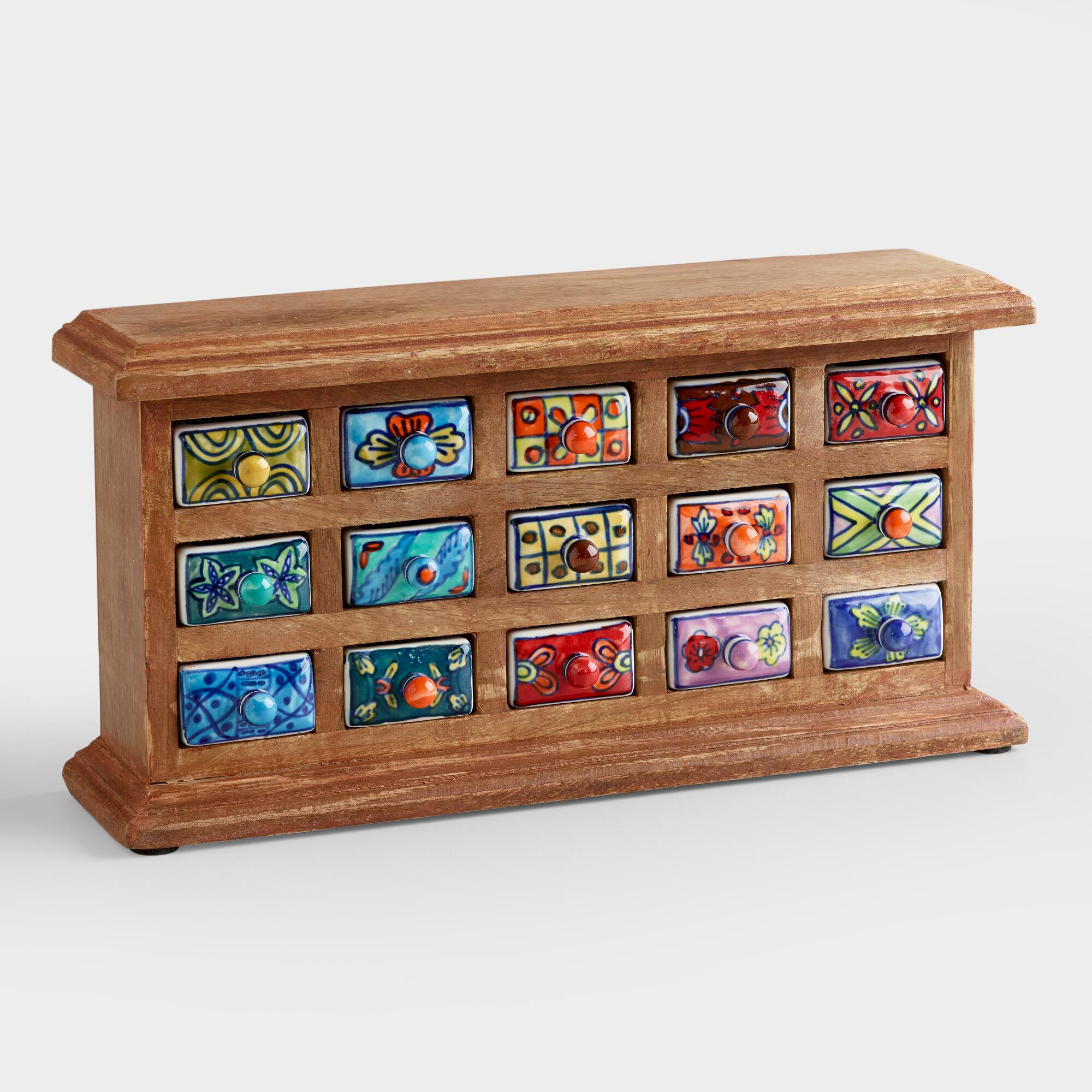 Marvelous photograph of Rectangular Ceramic Drawer Wood Chest World Market with #7B4026 color and 2000x2000 pixels