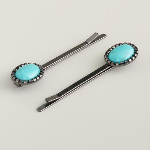 Turquoise and Silver Hair Pins, Set of 2