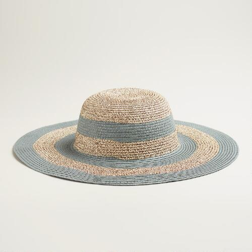 Gray and Brown Striped Sun Hat