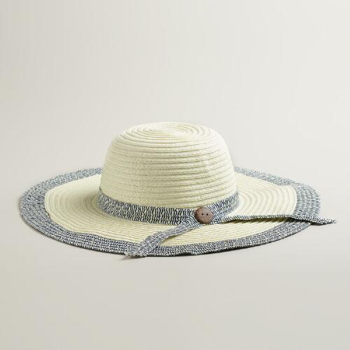 Ivory and Navy Sun Hat