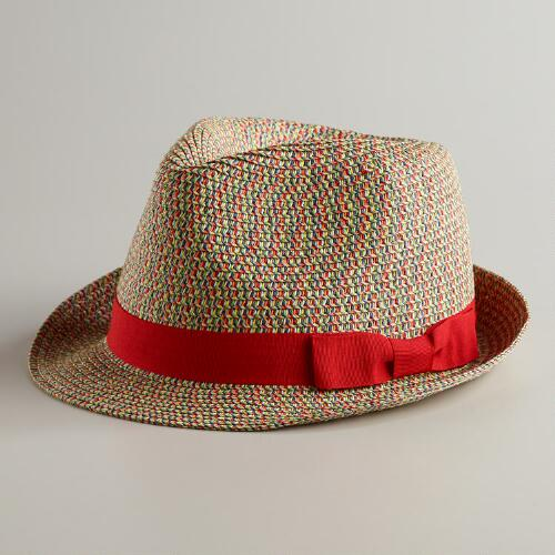 Multicolored Fedora Hat with Red Ribbon