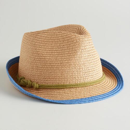 Blue Fedora Hat with Green Cord