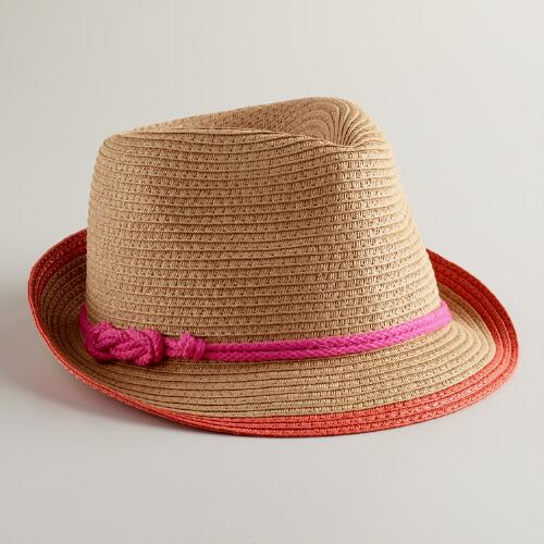 Orange Fedora Hat with Pink Cord