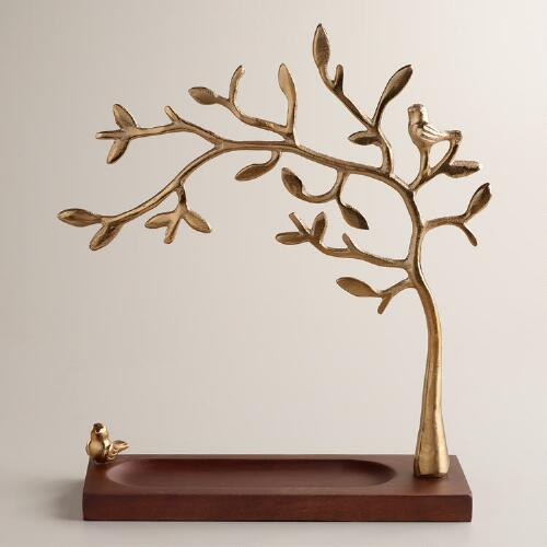 Gold Tree Jewelry Stand with Wooden Base
