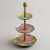 Yellow Enamel Three-Tiered Jewelry Stand