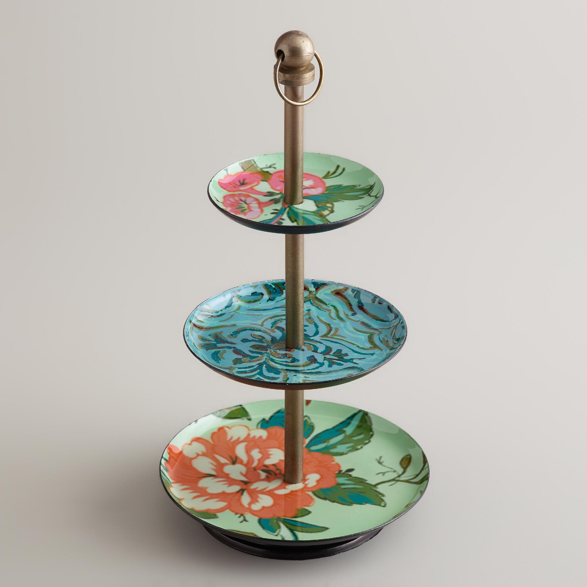 blue enameled three tiered jewelry stand world market