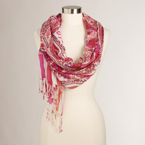 Pink Paisley and Striped Scarf