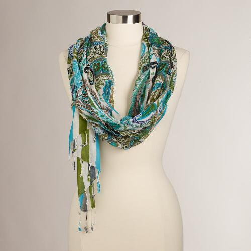 Turquoise Paisley and Striped Scarf