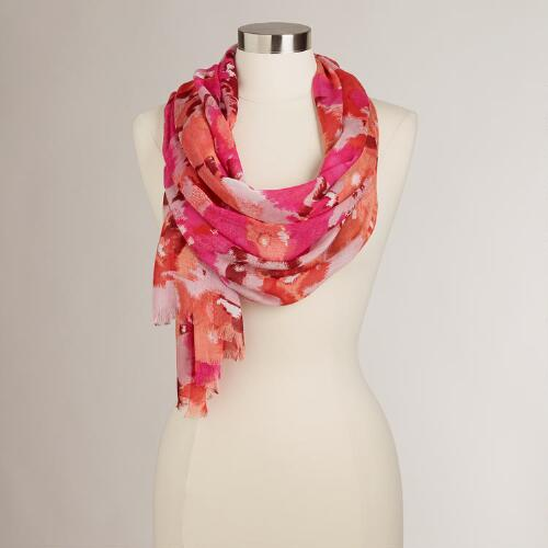 Pink and Orange Floral Scarf