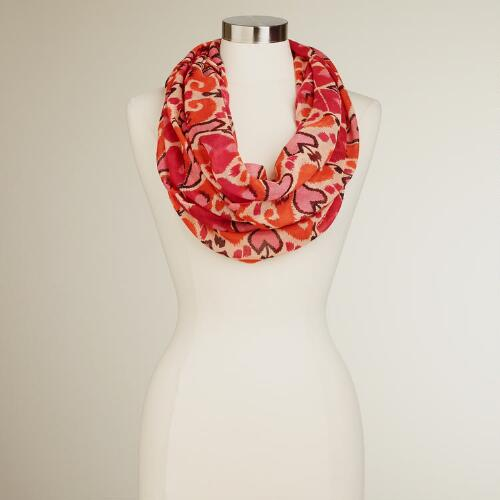 Coral Hearts Infinity Scarf