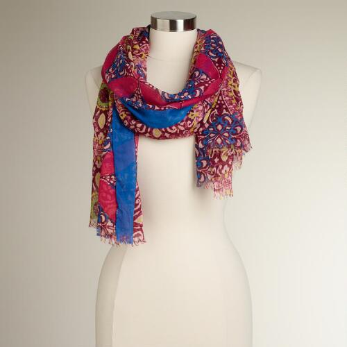 Pink and Blue Medallion Scarf