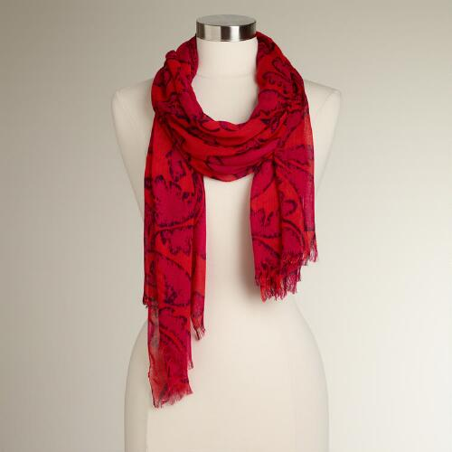 Fuchsia and Orange Floral Scarf