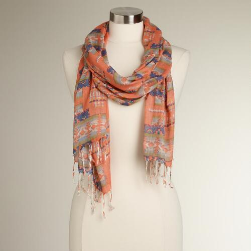 Coral and Blue Geometric Fringe Scarf
