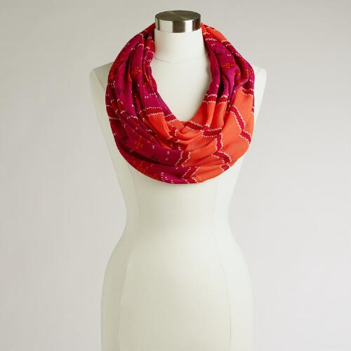 Fuchsia and Orange Ikat Striped Infinity Scarf