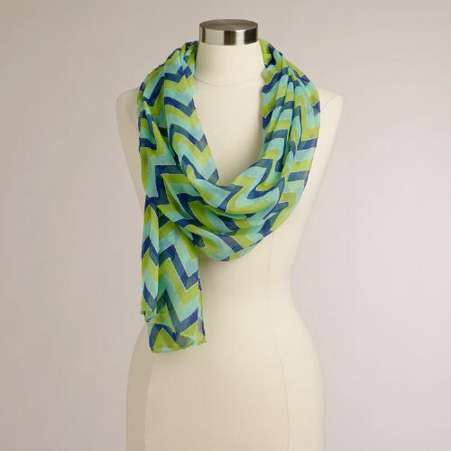 Lime and Blue Chevron Scarf