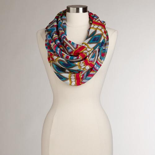 Multicolored Ikat Infinity Scarf