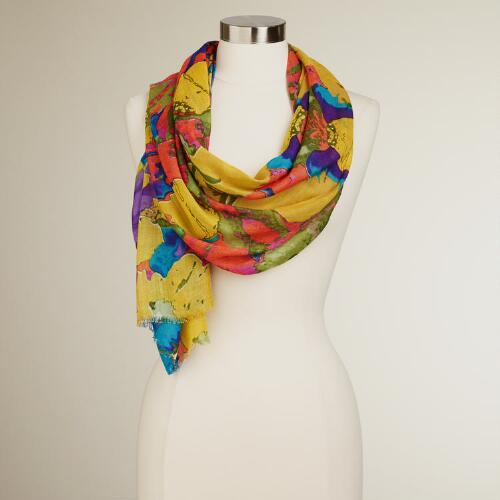 Yellow Large Floral Scarf