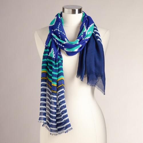 Blue and Turquoise Ikat Scarf
