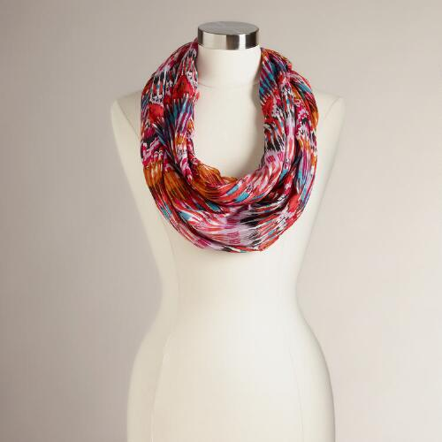 Pink and Blue Ikat Infinity Scarf