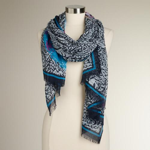 Abstract Scarf with Large Blue Flower