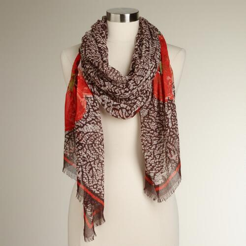 Abstract Scarf with Large Red Flower