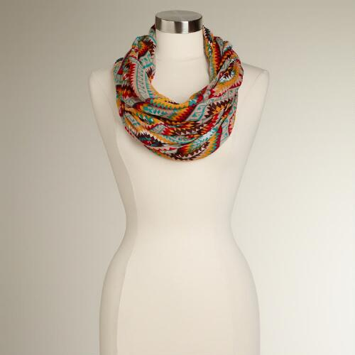 Turquoise and Red New Mexico Infinity Scarf