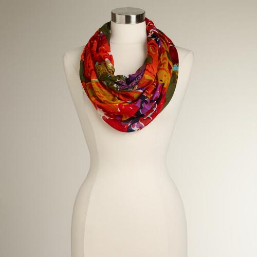 Olive, Orange and Blue Floral Infinity Scarf