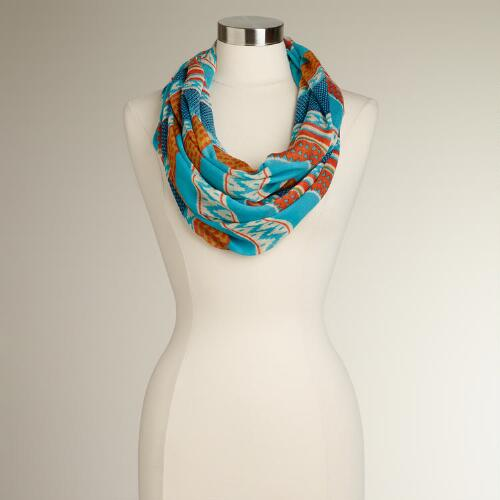 Turquoise and Orange Striped Infinity Scarf