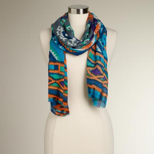 Navy, Turquoise and Orange Ikat Scarf