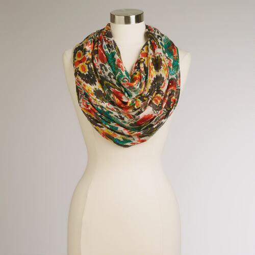 Red and Green Ikat Infinity Scarf