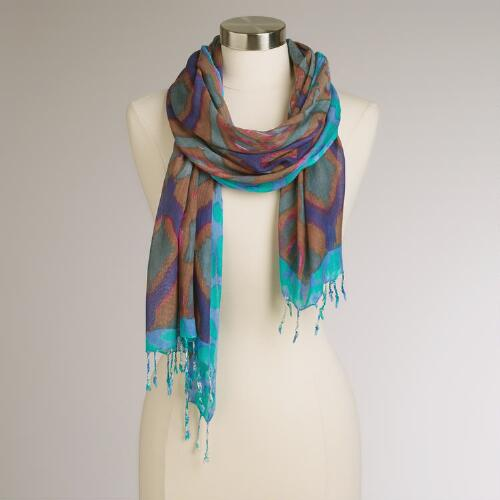 Brown, Purple and Teal Bordered Scarf