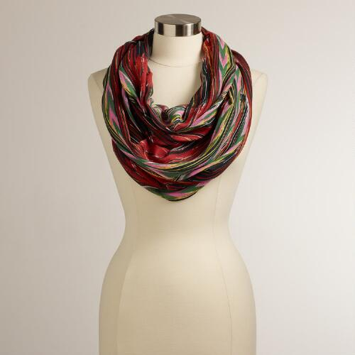 Brown and Pink Wood Grain Infinity Scarf