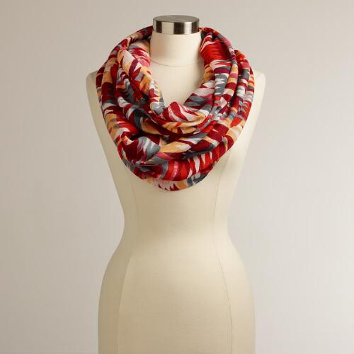Red and Gray Geometric Infinity Scarf