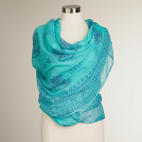 Aqua and Blue Prayer Shawl
