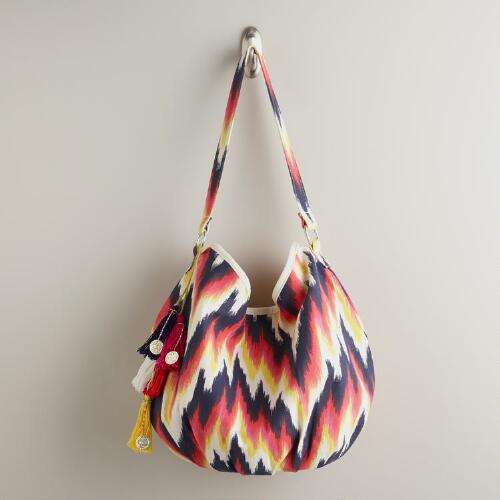 Orange and Blue Ikat Bag