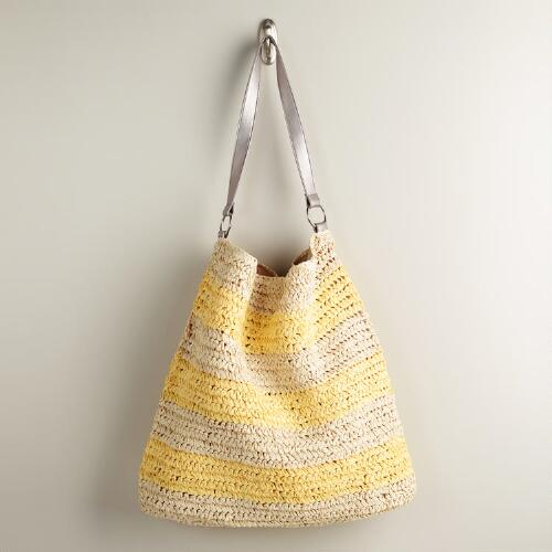Yellow and Cream Woven Beach Bag