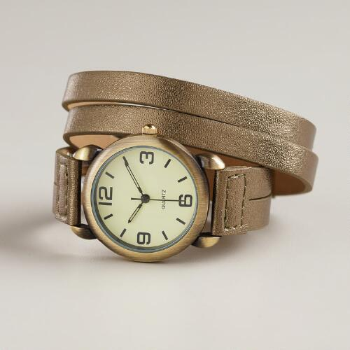 Bronze Leather Wrap Watch