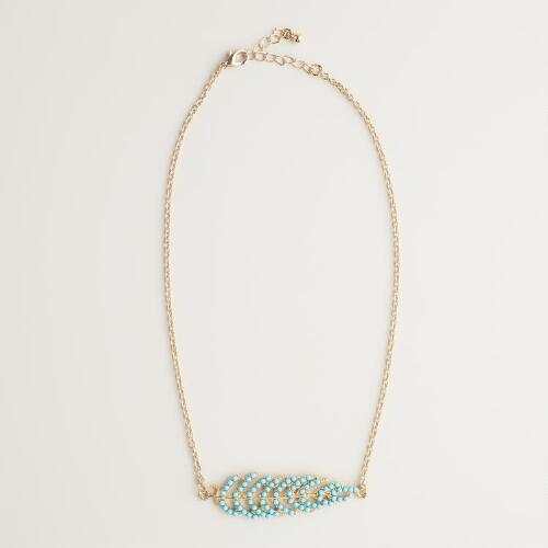 Turquoise and Gold Feather Necklace