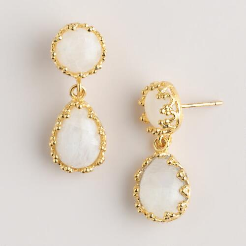 Gold Double Moonstone Earrings