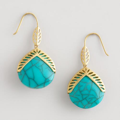 Turquoise Stone Teardrop Earrings